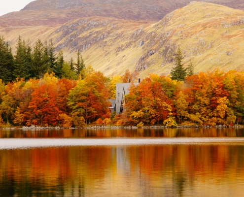 Corrour Lodge through the trees in Autumn